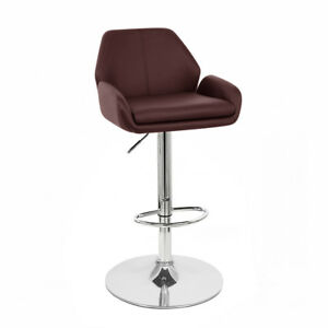Image Is Loading NEW LEATHER BAR STOOL ADJUSTABLE ADJUSTING BARSTOOL CHAIR