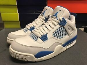 Details about Sz 10.5 NIKE AIR JORDAN IV 4 RETRO OG WHITE MILITARY BLUE  308497-105 d899ae819