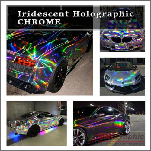 Iridescent Holographic Laser Cut Neon Chrome Chameleon Vehicle Vinyl Wrap Tint