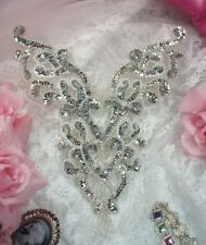 0035 SILVER PEARL BODICE YOKE SEQUIN BEADED APPLIQUE PATCH  SEWING CRAFTS MOTIF