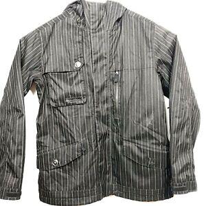 Burton-Mens-Sz-M-Snowboarding-Ski-Black-Pin-Striped-Heavy-Dryride-Jacket
