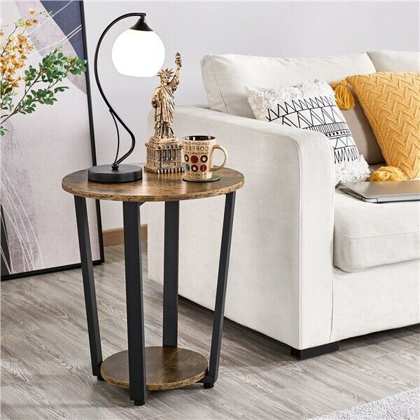 Industrial Round Side Table with Storage Sofa End Table Night Stand Metal Frame
