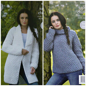 4693273b6 KNITTING PATTERN Ladies Very Easy Knit Coat and Polo Jumper Super ...