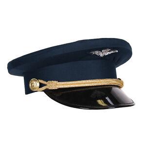 Pilotenmuetze-Marineblau-mit-Kordel-amp-Lackschirm-Gr-57-59-oder-61-Schirmmuetze