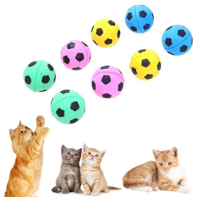 12pcs Cute Dog Cat Chew Ball Foam Football Pet Cats Interactive Fetch Play Toy
