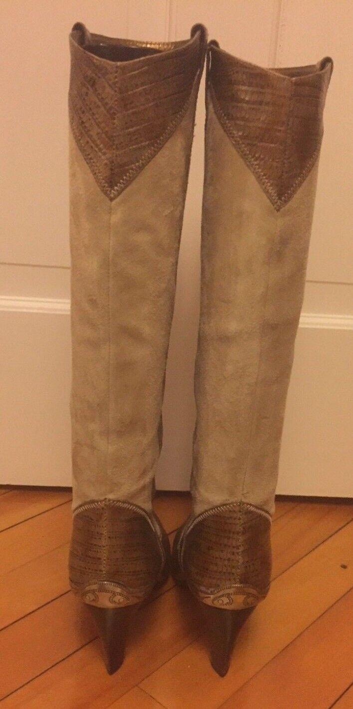 J VINCENT VINCENT J TAMYRA Braun Beige Genuine Suede Leder Western Stiefel BRAZIL 7.5 fe2ff9