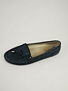 Used-Michael-Kors-logo-mocassin-Leather-Loafers-Flats-Shoes-Black-Size-8