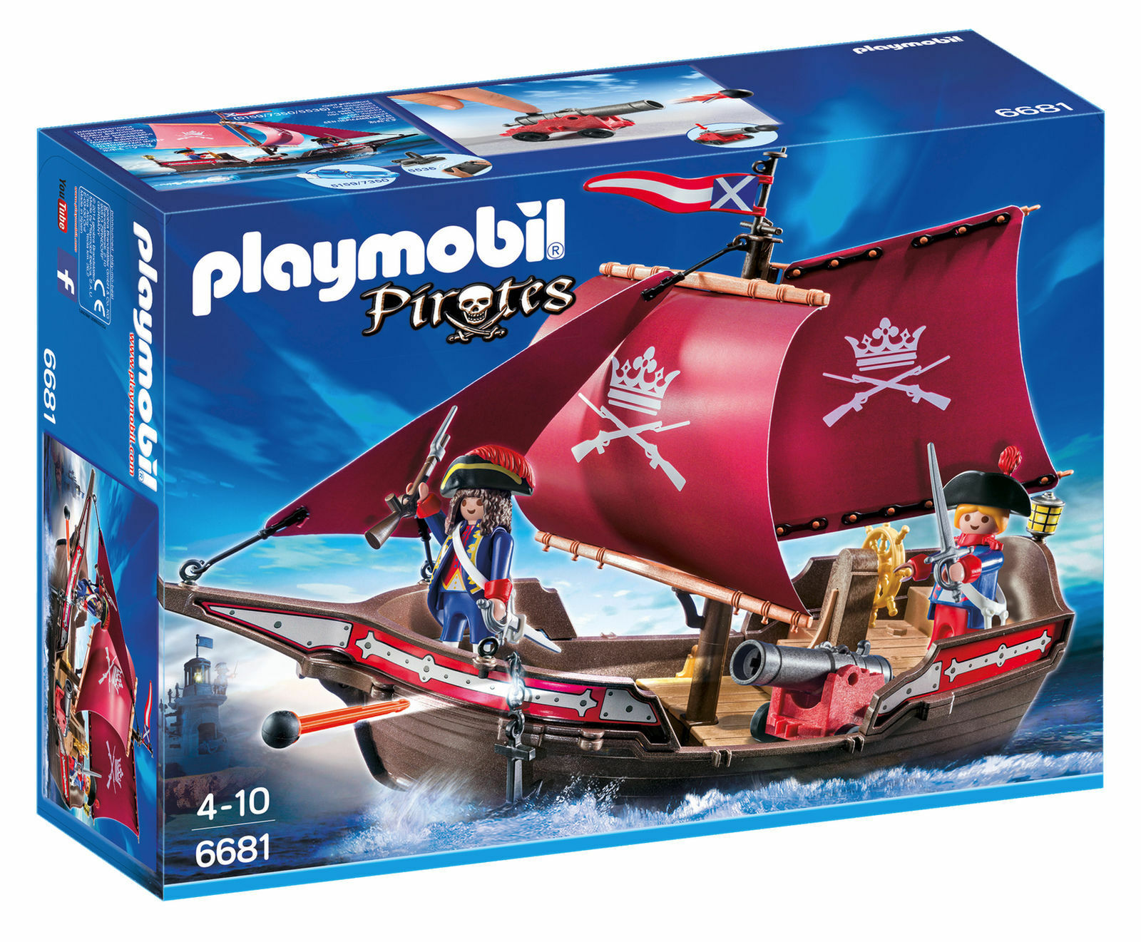 Playmobil 6681 Soldaten-Kanonensegler - schwimmfähig - Piraten Neu  | Stilvoll und lustig