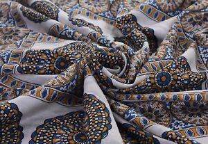 Vintage-Beige-Saree-100-Pure-Silk-Printed-Craft-Decor-Fabric-Sari-Dressmaking