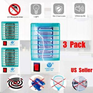 3 Pack LED Electric Mosquito Fly Bug Insect Trap Zapper Killer Night Lamp light