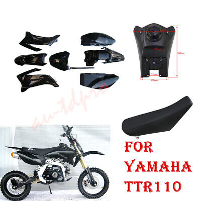 Black Plastic Fender Fairing Kit /& Tall Seat for Yamaha TTR110 Pit Dirt Bike