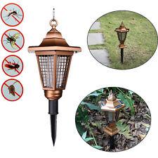 UV Solar Powered 2 LED Light Pest Bug Zapper Insect Mosquito Killer Lamp Garden