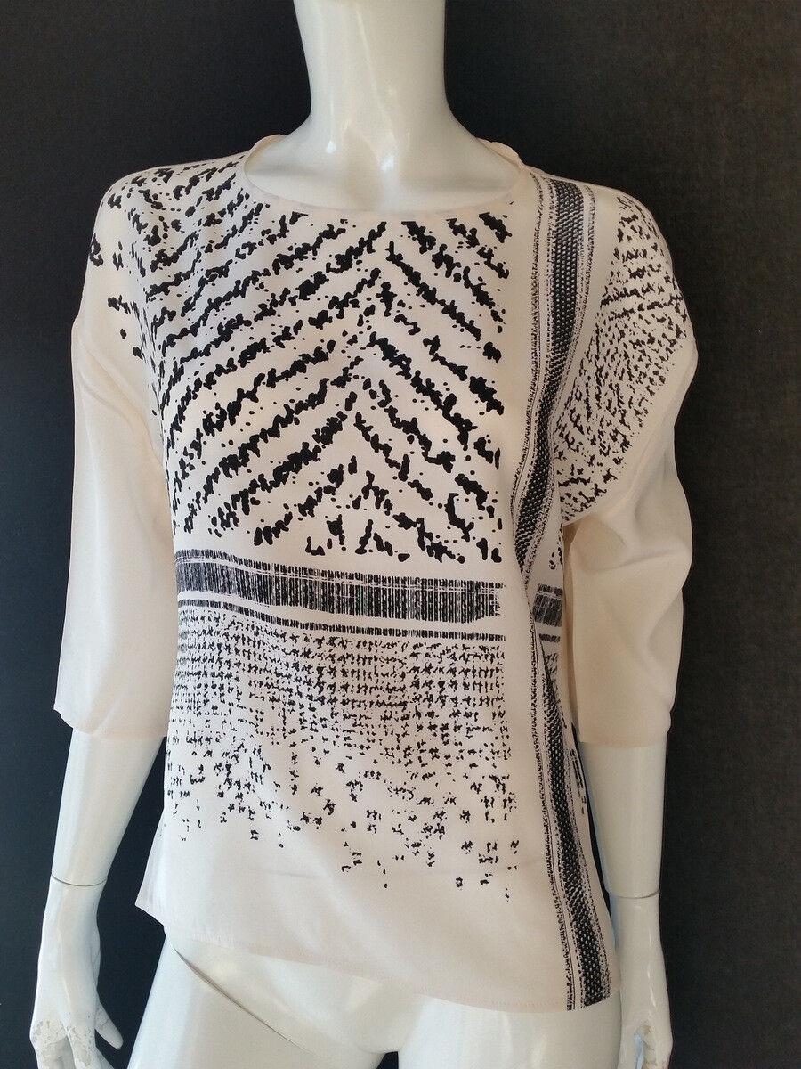 Luisa CERANO shirt Cream Nero Seta LYOCEL LYOCEL LYOCEL Uvp Euro 229,95gr.42 --  NUOVO 651a38