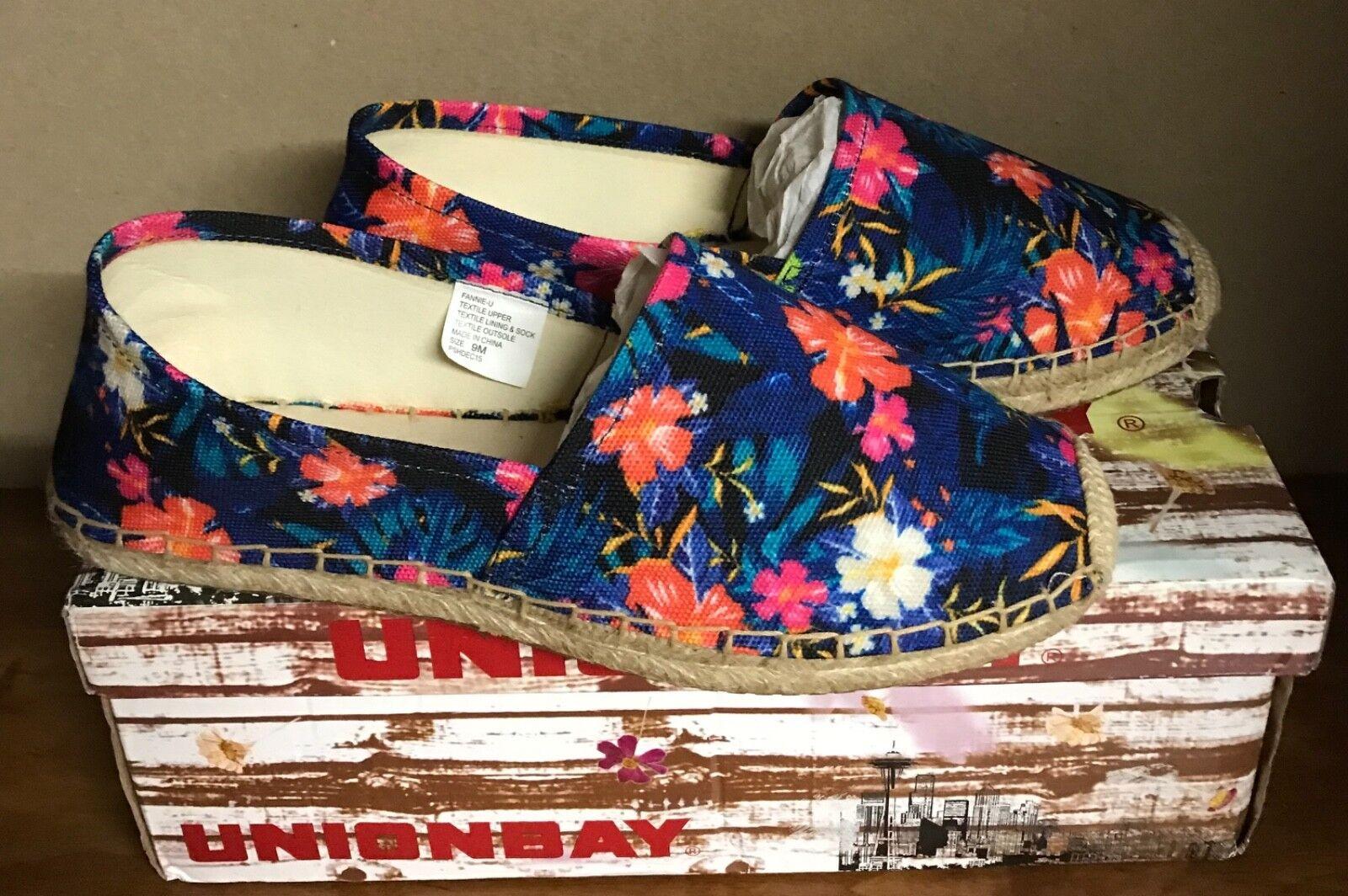 Unionbay Women's Fannie-U Crochet Espadrille Flats Tropical Navy Sz 9 NEW