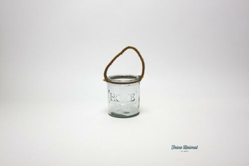 FeineHeimat Windlicht HOME mit Tauhenkel Glas 17cm