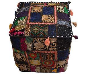 Indian-Square-Ottoman-Pouf-Patchwork-Cover-18x18-034-100-Cotton-Handmade-Vintage