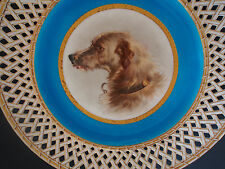 Antique Minton~Henry Mitchell~Wolfhound Dog Portrait~Reticulated Cabinet Plate