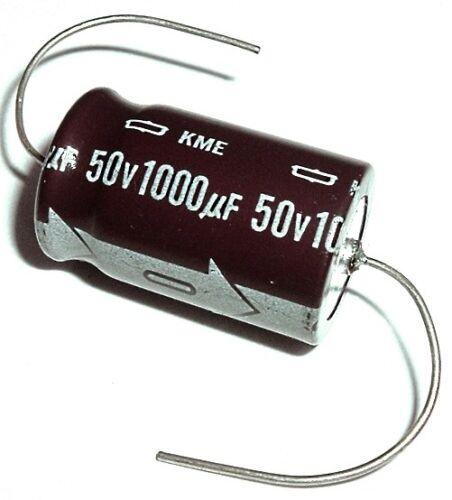 4 pcs 1000uF 50V 105 C Axial Electrolytic Capacitors Nippon KME Series NOS