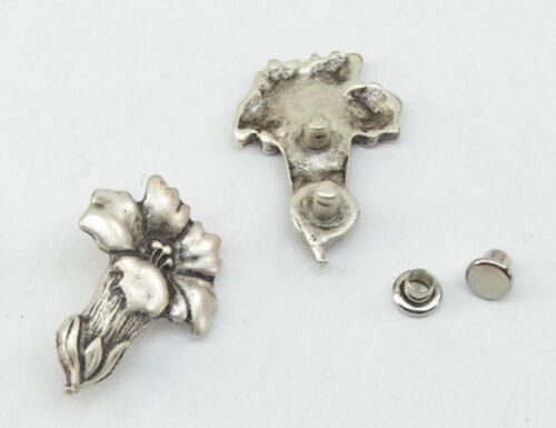 2 Enzianblüten Metall Applikationen Zierteile Trachten 03.31//258