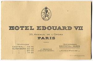 Vintage Business Card Hotel Edouard Vii Paris France Ebay