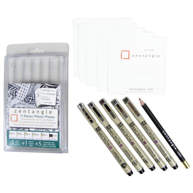 "Sakura Zentangle, 11 - piece set, 3.5"" tile set, Micron pens in 01, 03, 05, & 08"
