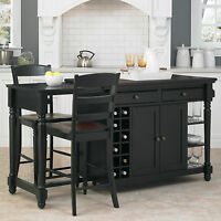 3 Piece Black Kitchen Island Bistro Dining Set Home Wine Storage Shelf Furniture