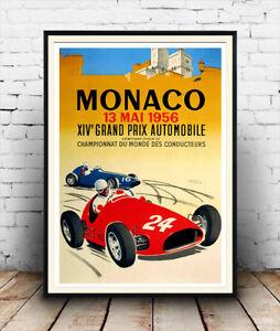 Monaco-Vintage-1956-Motor-racing-advertising-poster-reproduction