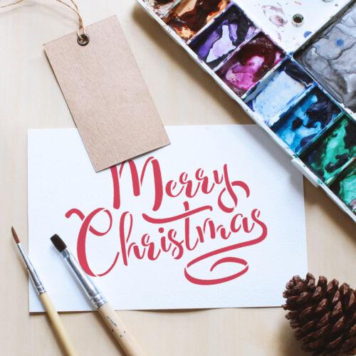 Joyeux Noël Pochoir-Calligraphie Craft//Aérographe//Gâteau Modèle-Mini//Small