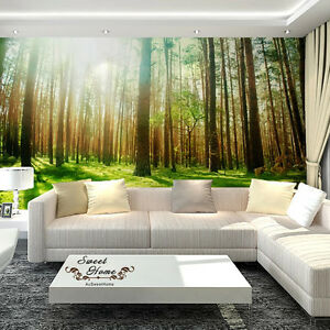 Image Is Loading Green Forest Sunshine Full Wall Mural Wallpaper Print