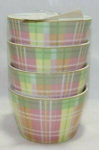 222-Fifth-Easter-Plaid-Porcelain-Appetizer-Dessert-Bowls-Set-of-Four-New