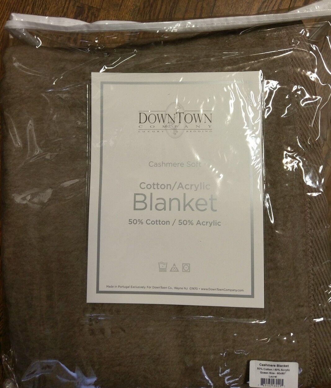 DownTown Company Cashmere Soft™ Blanket Cotton Blend Laurel Queen NIP