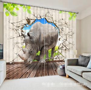 3D Rhinoceros 68 Blockout Photo Curtain Printing Curtain Drapes Fabric Window AU