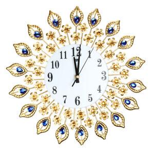 Große Wanduhr Luxus Pfau Diamond Wand Uhren Metall Wohnzimmer