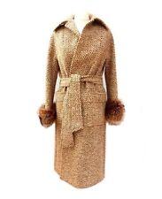 AQUASCUTUM appositamente per HARROD'S Vintage tweed cintura in pelliccia POLSINO Cappotto 12/10 (693)