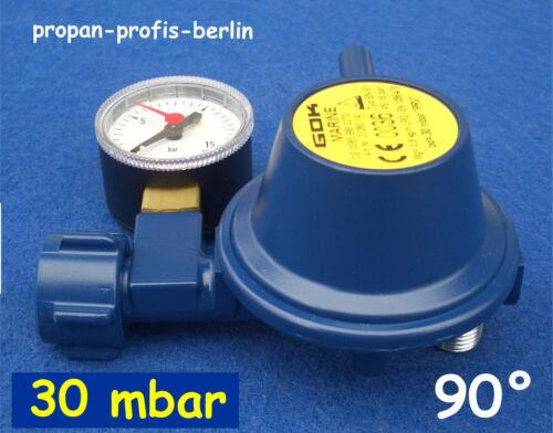 Marineregler 30 mbar 90° mit Manometer - 2019 GOK Druckminderer/Gasregler Boot
