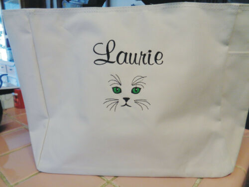1 Personalized Tote Bag Monogram Gift FRIEND  Teacher CAT LOVER KITTY EYES cute!