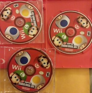 AS-IS-3x-LOT-Super-Mario-Bros-Nintendo-Wii-UNTESTED-DISCS-ONLY-DISPLAY-COVER