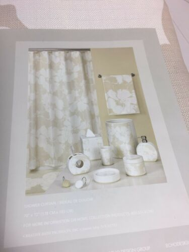 """Brand New Echo Home Graphic Flowers Fabric Shower curtain Natural 70/"""" x 72/"""""""