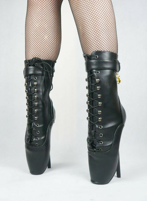 BLACK LETHER Stiefel, Ankle High Ballet Stiefel, high heals, Pony Stiefel, LETHER sexy boot, corset c4ff86
