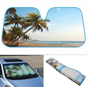 Palm Tree Island Beach Auto Sun Shade for Car SUV Truck Windshield ... 7869d3bd2ff