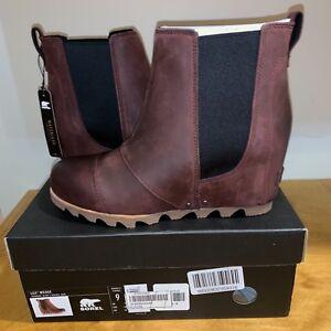 d076695d8bed Details about Women s Sorel Lea Wedge Boot NIB Waterproof Redwood Black  Ankle Joan Chelsea