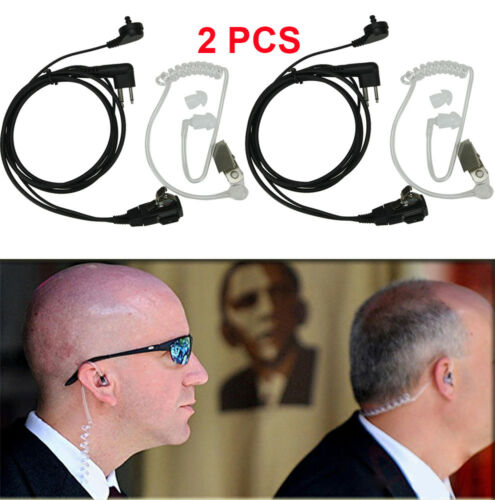 Lots 2 Pin Headset Mic Covert Acoustic Tube Earpiece For Motorola Radio Security