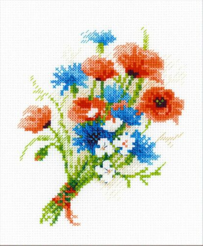 RIOLIS  1576  BOUQUET WITH CORNFLOWER  COUNTED CROSS STITCH KIT