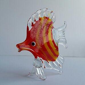 Handmade-Art-Blown-Glass-Collectible-Miniature-Orange-Fish-Figurine-Gift-Statue