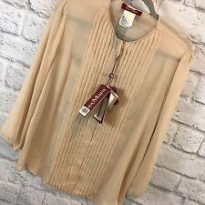 Max Mara Studio Silk Blouse Pleated Wheat Beige Sheer Button Front 3/4 Sleeve