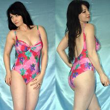 pink geblümter BODY* S 80B * Badeanzug mit Bügel* Gymnastikanzug stretchig