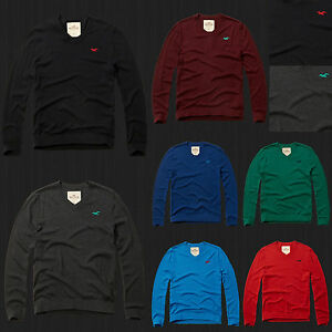 NWT-New-2016-HOLLISTER-By-Abercrombie-Men-Iconic-V-neck-Sweater-ALL-Sizes-Colors
