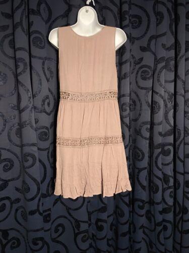 R554 JODIFL Dress Tan Chic Peasant Boho Bohemian Flowy Sleeveless Small Medium