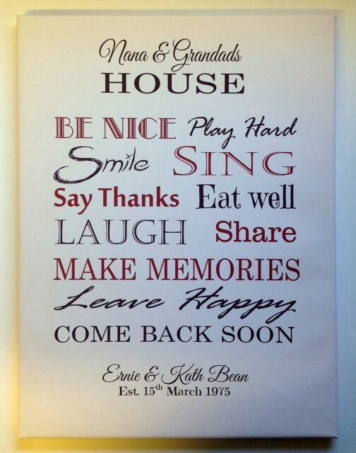 Personalised GRANDPARENTS HOUSE Canvas Wrap- IDEAL CHRISTMAS GIFT