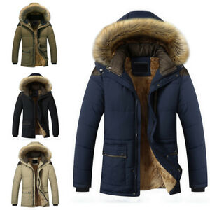 Winter-Men-039-s-Warm-Thick-Fur-Collar-Jacket-Coat-Hooded-Fleece-Outerwear-Overcoat
